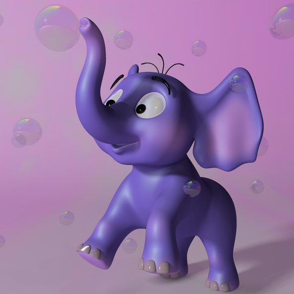 3d cartoon baby elephant rigged