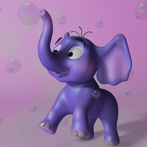3d cartoon baby elephant rigged