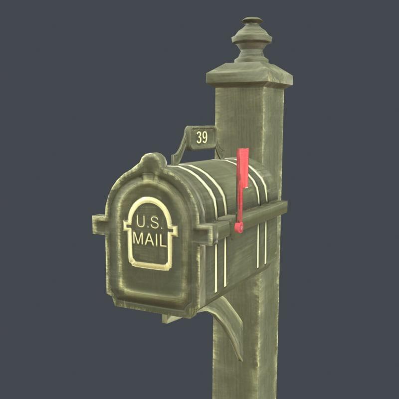 3d fbx mailbox pbr