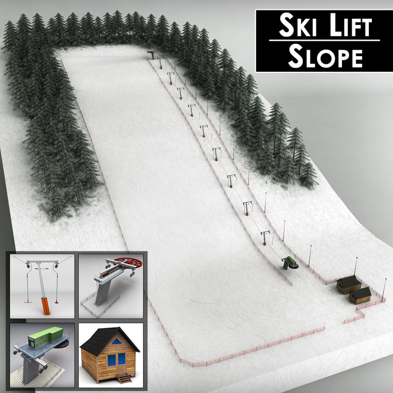 3d ski lift pack mountains model