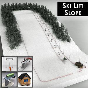 3d ski lift pack mountains model