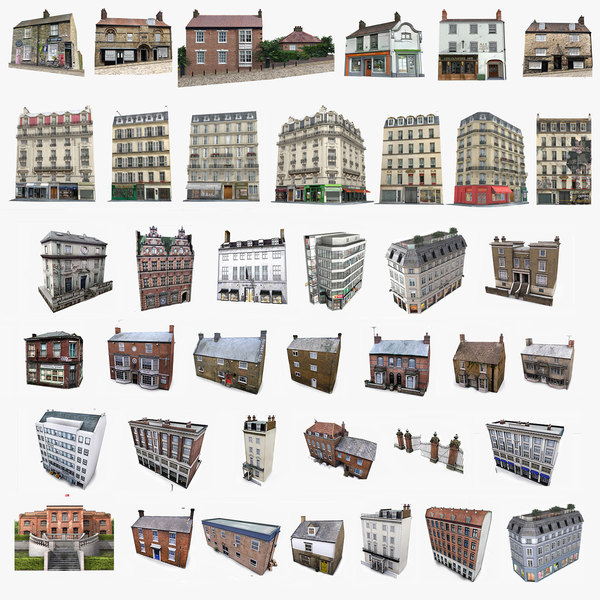 3ds photorealistic european buildings set