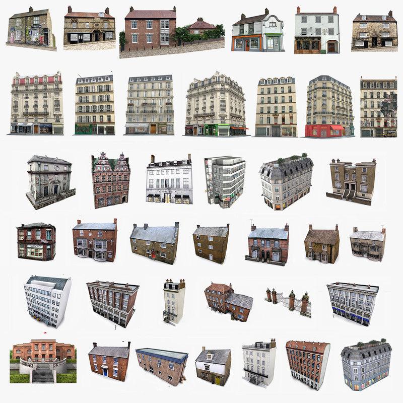 3ds photorealistic european buildings set