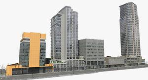 block office buildings 3d model