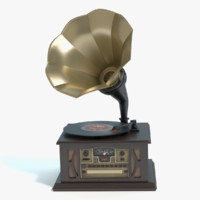 antique record player 3d obj