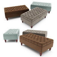 tiffany linen footstool ottoman 3d model