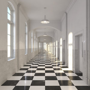 3ds max hallway realistic