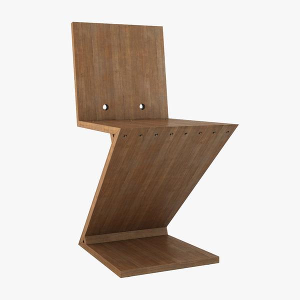 3d model gerrit rietveld zig-zag chair