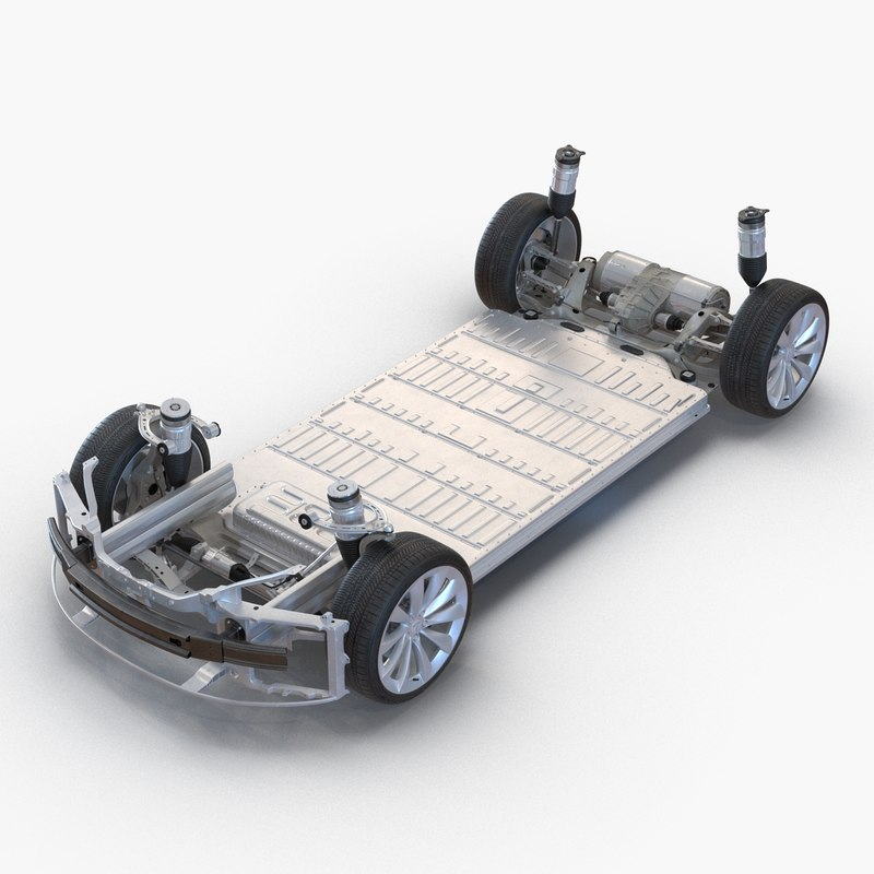 3d tesla s chassis modeled