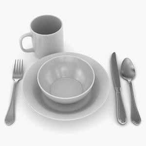 dinner dinnerware 3d max