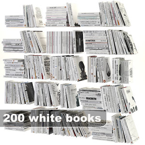 white books set 3d model