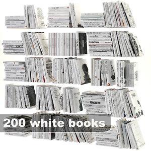 white books set 3d model