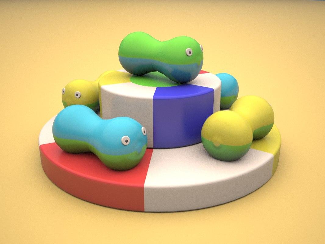 3d model soft children playground peanuts