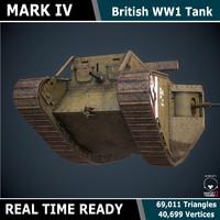 3d model ready tank mark iv