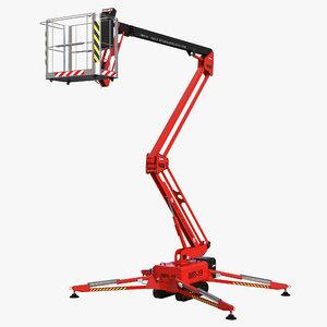 3d telescopic boom lift red