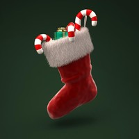 3d model christmas stockings gifts