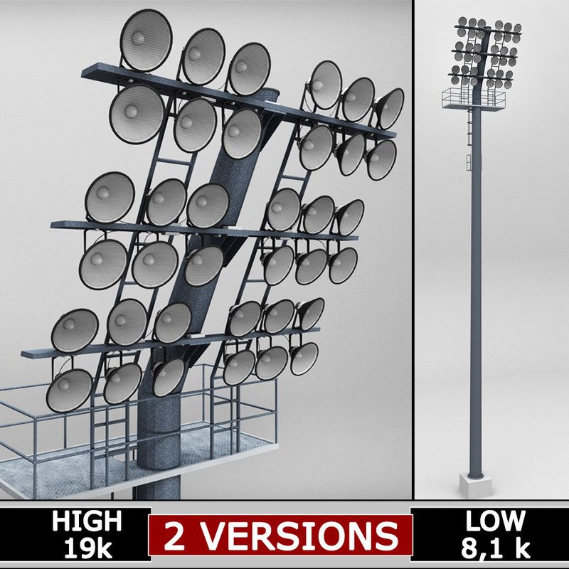 3d model rounded stadium lights