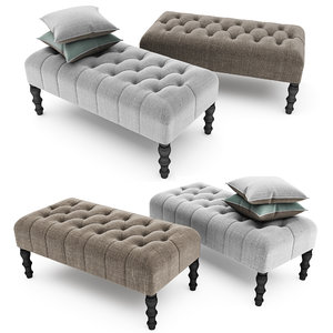3d footstool upholstered buttons model
