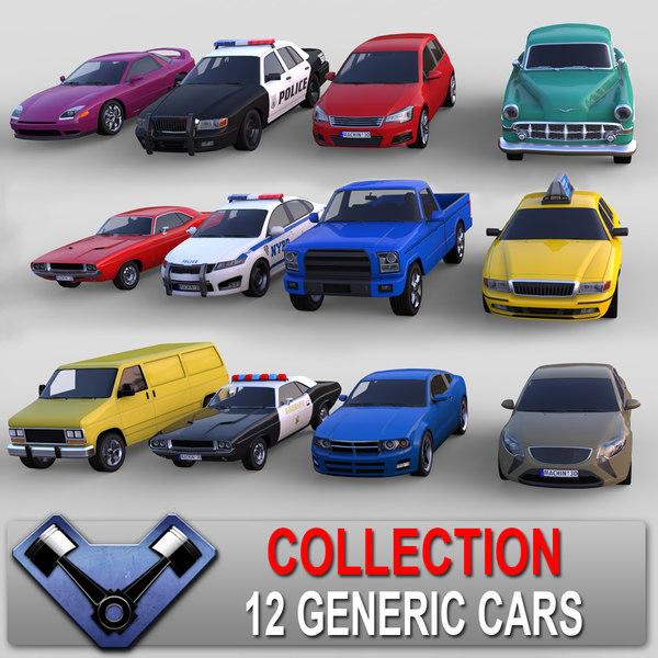 generic cars sedan 3d model