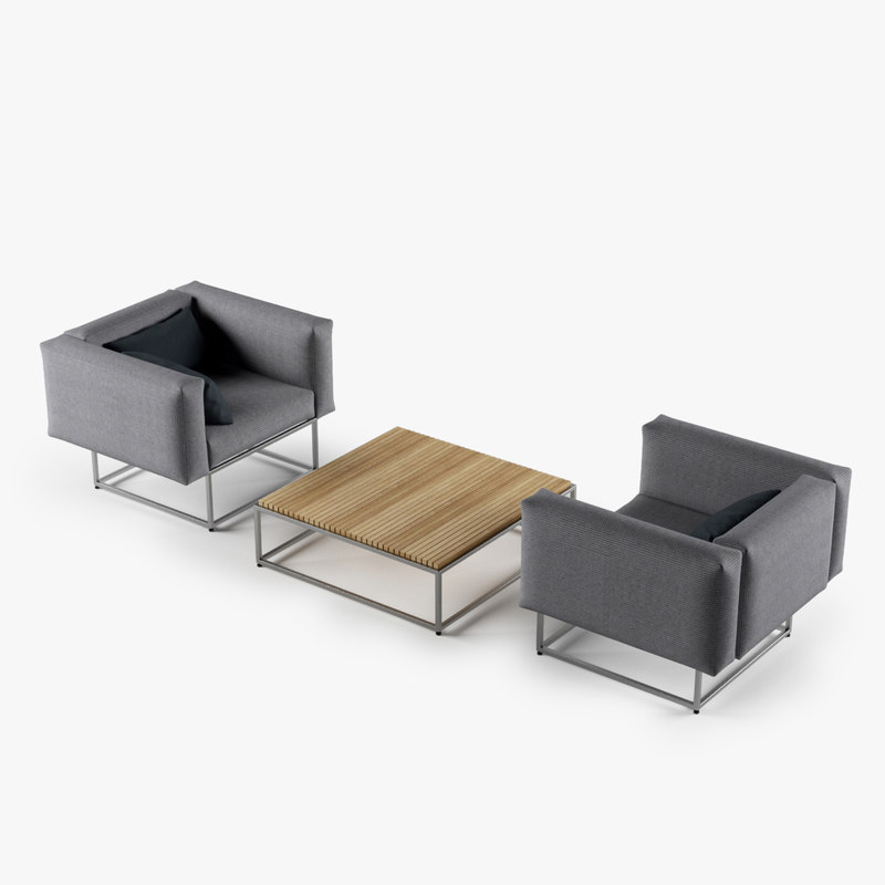 set cloud chair coffee table 3d max