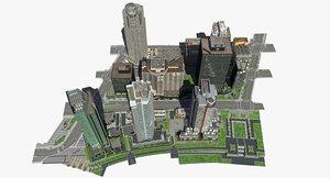 3d model city block buildings