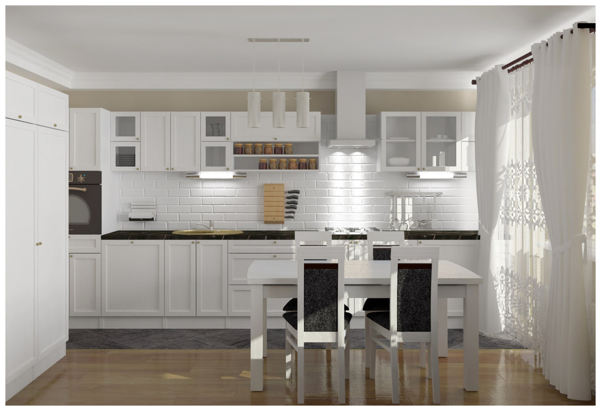 3d model classic style kitchen 4500x2650x2100