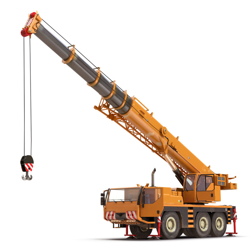 compact mobile crane rigged 3d max