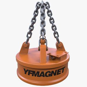 3d model industrial magnet crane