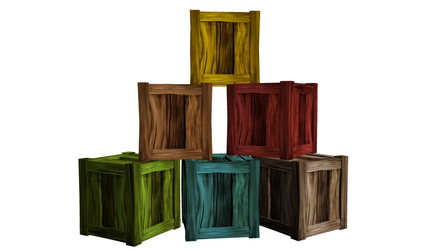 wooden crate 3d x