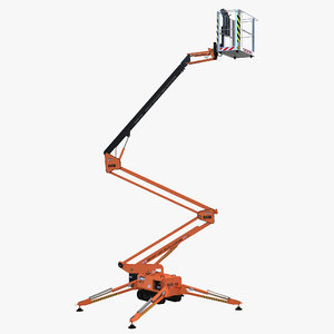 telescopic boom lift orange 3d 3ds