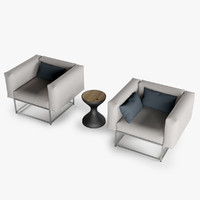 3d max set cloud chair table