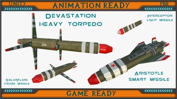 sci-fi missiles set 3d model