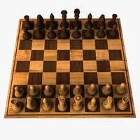 wooden chess set realistic wood obj