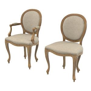 3d moissonnier dining chair model