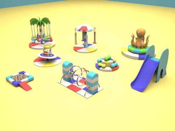 soft children playground kiddie 3d max