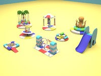 soft children playground kiddie 3d max