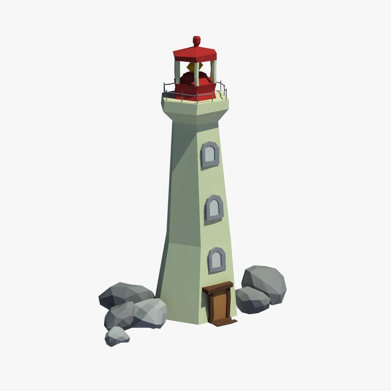 3d model lighthouse cartoon light