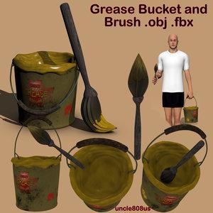 grease bucket brush 3d model