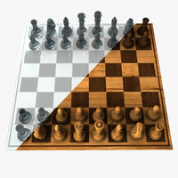 chess set wood glass 3d model