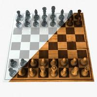 chess set wood glass 3d model