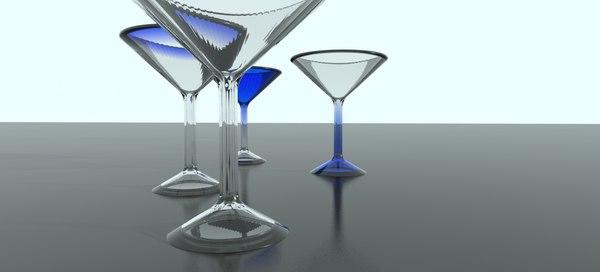 3d model martini glasses