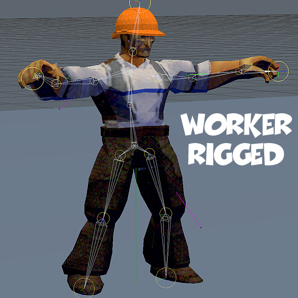 rigged man worker 3ds