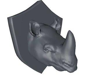 3d mounted rhino head model
