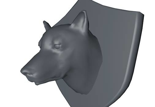 mounted wolf dog head 3d 3ds