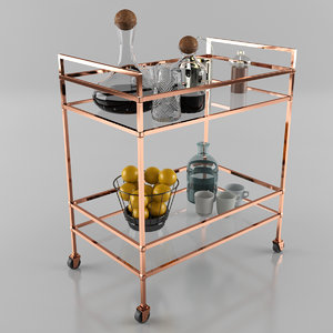 3d model trolley bar cart