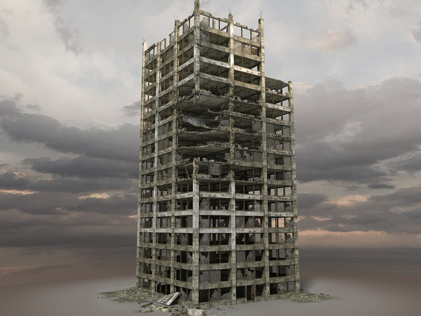 3d model destroyed ruined building
