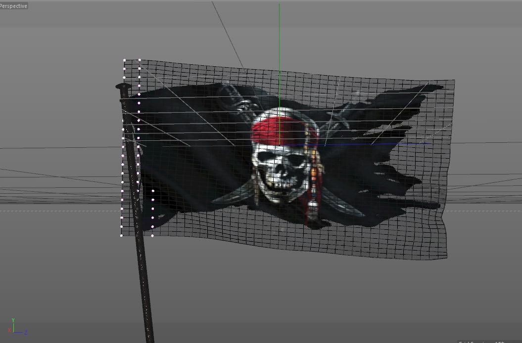 3d model pirate flag waving