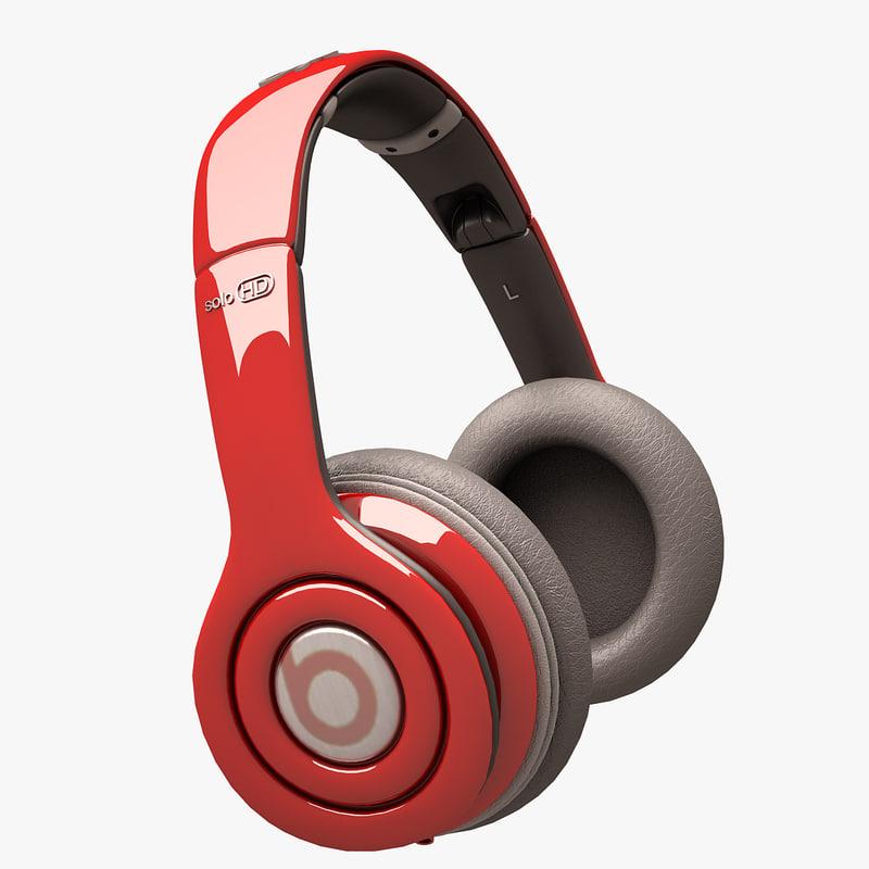 beats solo hd 3d model