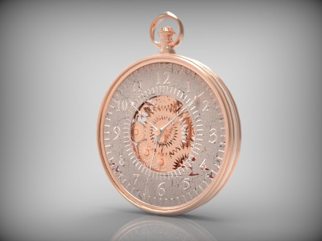 metallic pocket watch 3d obj