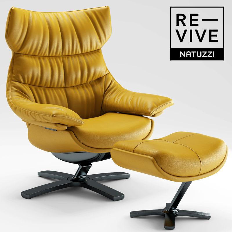 3d armchair re-vive natuzzi model